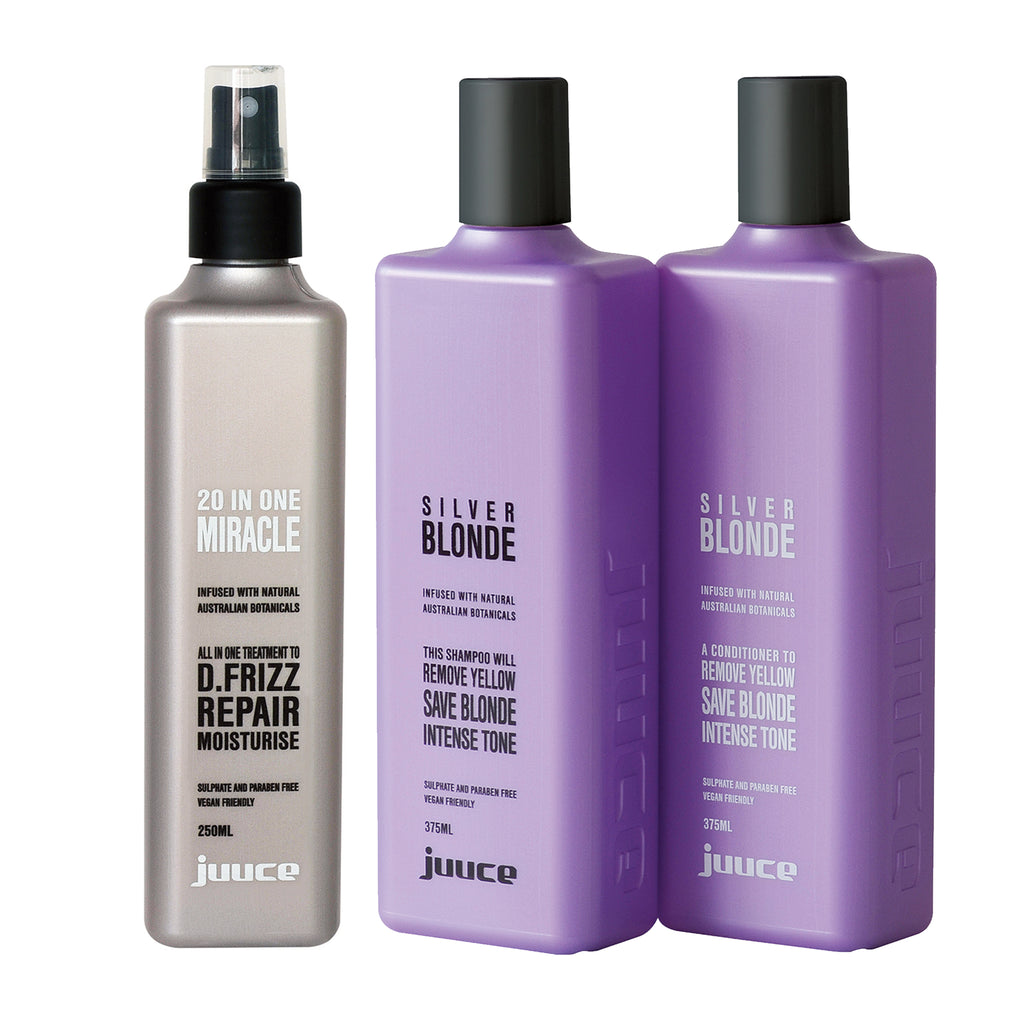 Juuce Silver Blonde Shampoo, Conditioner and 20 in 1 Miracle Spray - Haircare Superstore