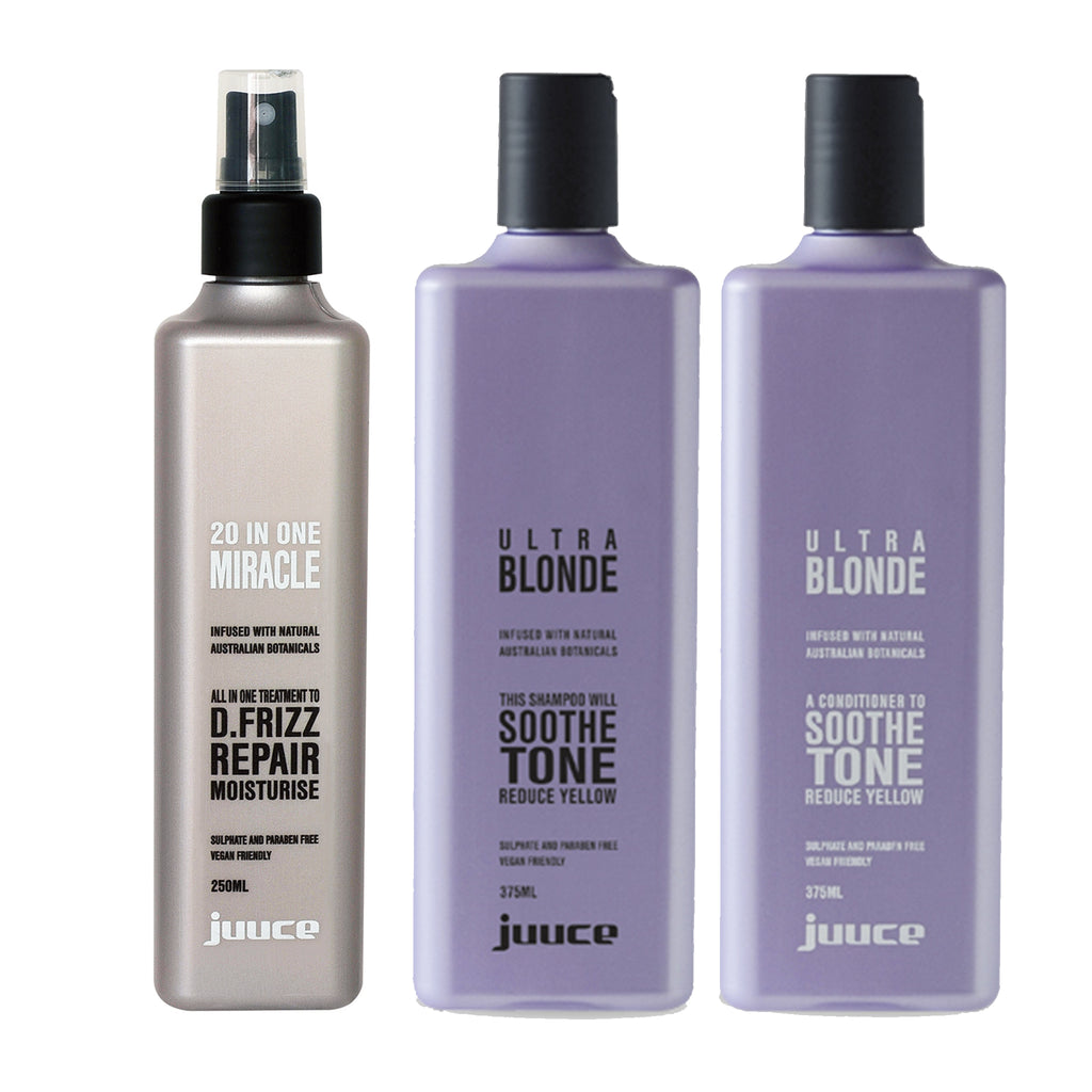 Juuce Ultra Blonde Shampoo Conditioner and 20 in 1 Miracle Spray - Haircare Superstore