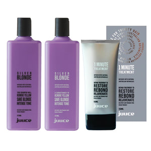 Juuce Silver Blonde Shampoo Conditioner and 1 Minute Treatment - Haircare Superstore