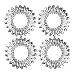 Spiral Hair Tie Crystal Clear (4 Pack) - Haircare Superstore