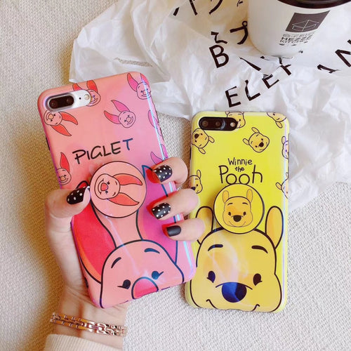 Cute Winnie Pooh & Piglet iPhone Case with Holder Ring