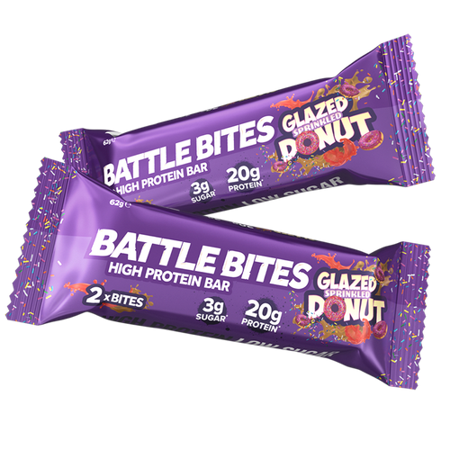 protein bars, battle bites, glazed sprinkled donut, low sugar