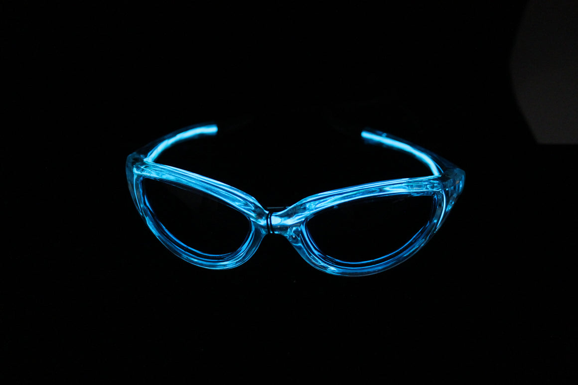 Lite Blue light up El Wire sunglasses