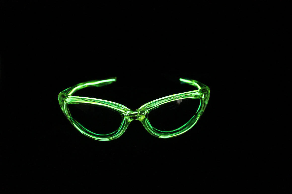 Green light up El Wire sunglasses