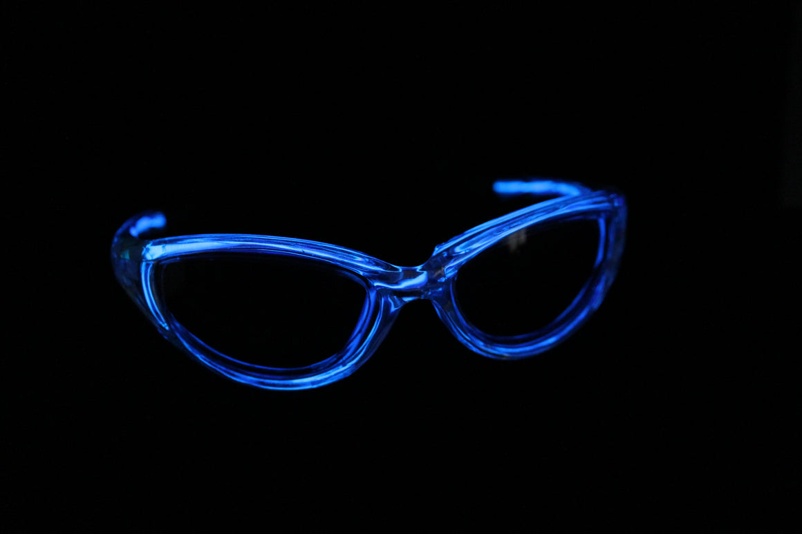 Dark Blue light up El Wire sunglasses