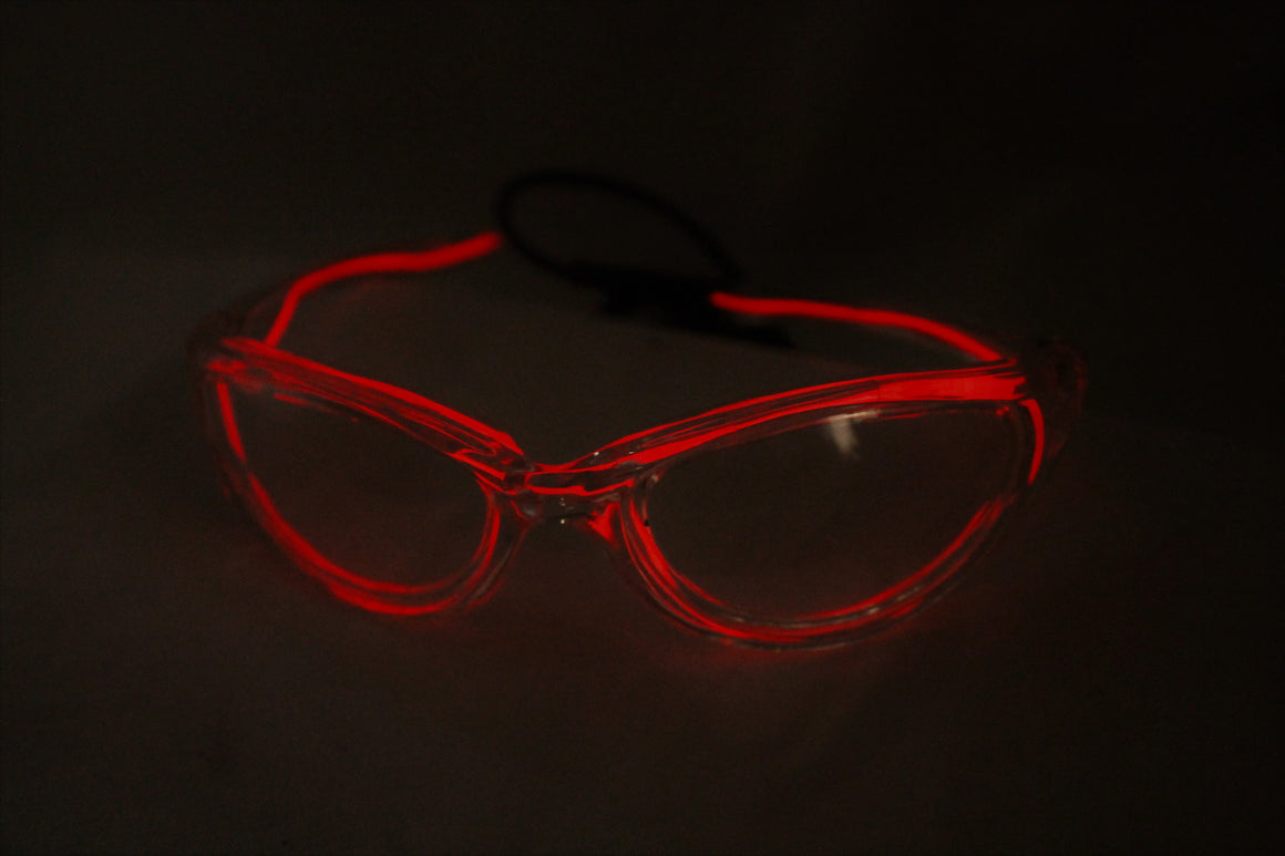 Red light up El Wire sunglasses