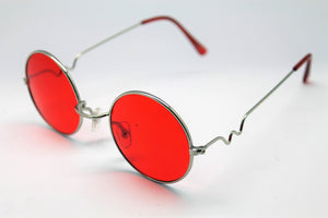 Lennon style sunglasses with red lenses and silver frames