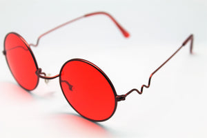 Lennon style sunglasses with red lenses and red frames