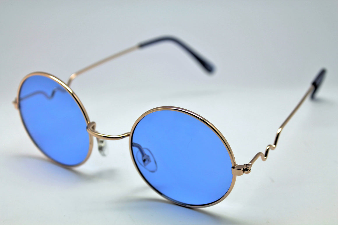 Lennon Style Sunglasses with Blue Lenses Gold Frames