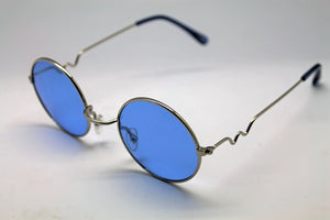 Lennon Style Sunglasses with Blue Lenses Silver Frames