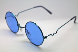 Lennon Style Sunglasses with Blue Lenses Blue Frames