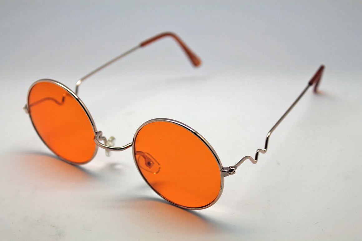 Lennon Style Sunglasses with Orange Lenses Gold Frames
