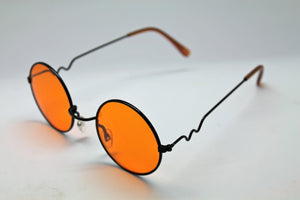 Lennon Style Sunglasses with Orange Lenses Black Frames