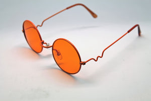 Lennon Style Sunglasses with Orange Lenses Orange Frames