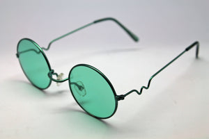 Lennon style sunglasses with Green lenses and green frames