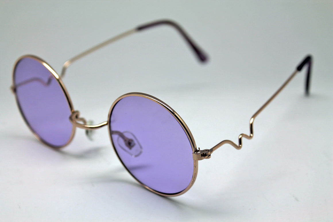 Lennon Style Sunglasses with Purple Lenses Gold Frames