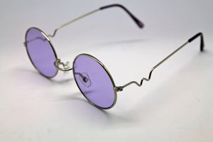 Lennon Style Sunglasses with Purple Lenses Silver Frames
