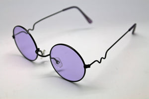 Lennon Style Sunglasses with Purple Lenses Black Frames