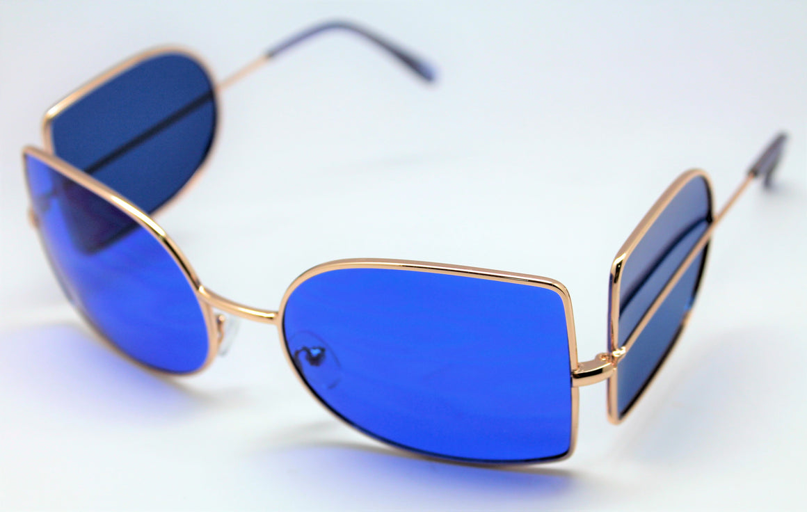 Jonny Depp Dark Shadows Vampire Sunglasses Blue Lens Gold Frame