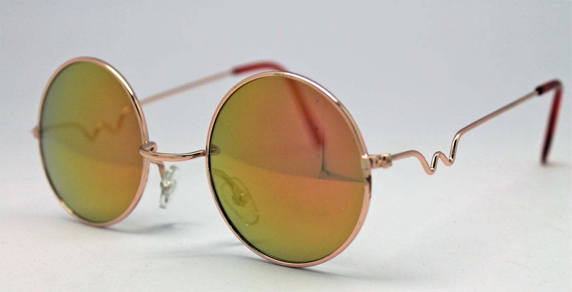 Lennon Style Sunglasses with Gold Red Mirror Lenses Gold Frames