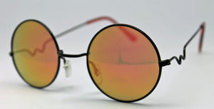 Lennon Style Sunglasses with Gold Red Mirror Lenses Black Frames