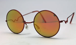 Lennon Style Sunglasses with Gold Red Mirror Lenses Red Frames
