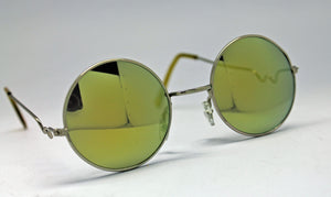 Lennon Style Sunglasses with Yellow Gold Mirror Lenses Silver Frames