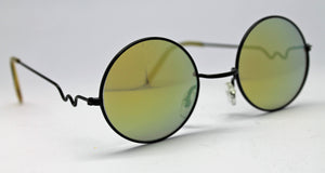 Lennon Style Sunglasses with Yellow Gold Mirror Lenses Black Frames