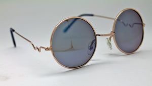 Lennon Style Sunglasses with Blue Mirror Lenses Gold Frames