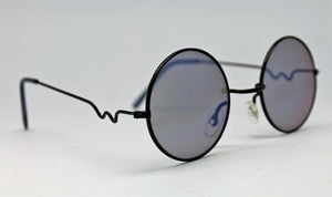Lennon Style Sunglasses with Blue Mirror Lenses Black Frames