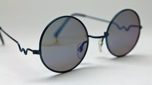 Lennon Style Sunglasses with Blue Mirror Lenses Blue Frames