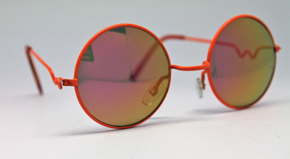 Lennon Style Sunglasses with Pink Orange Mirror Lenses Orange Frames