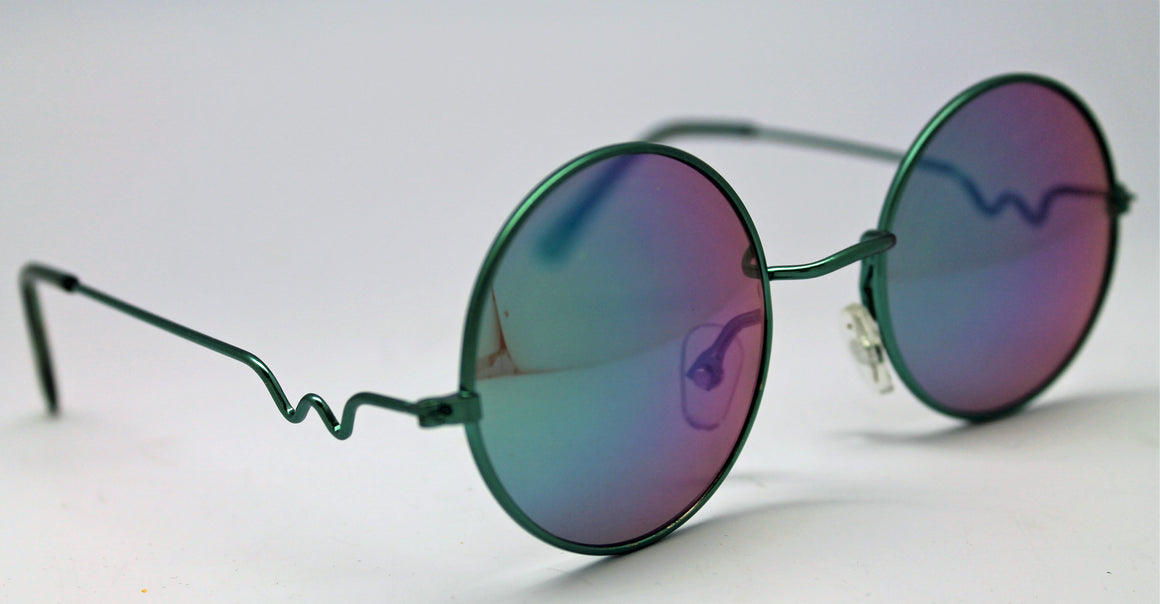 Lennon Style Sunglasses with Blue Green Mirror Lenses Green Frames