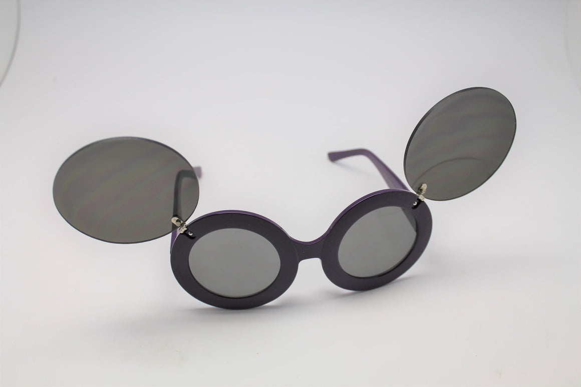 Lady gaga Mickey Mouse Flip Retro Paparazzi Sunglasses Purple Frames and Black lenses