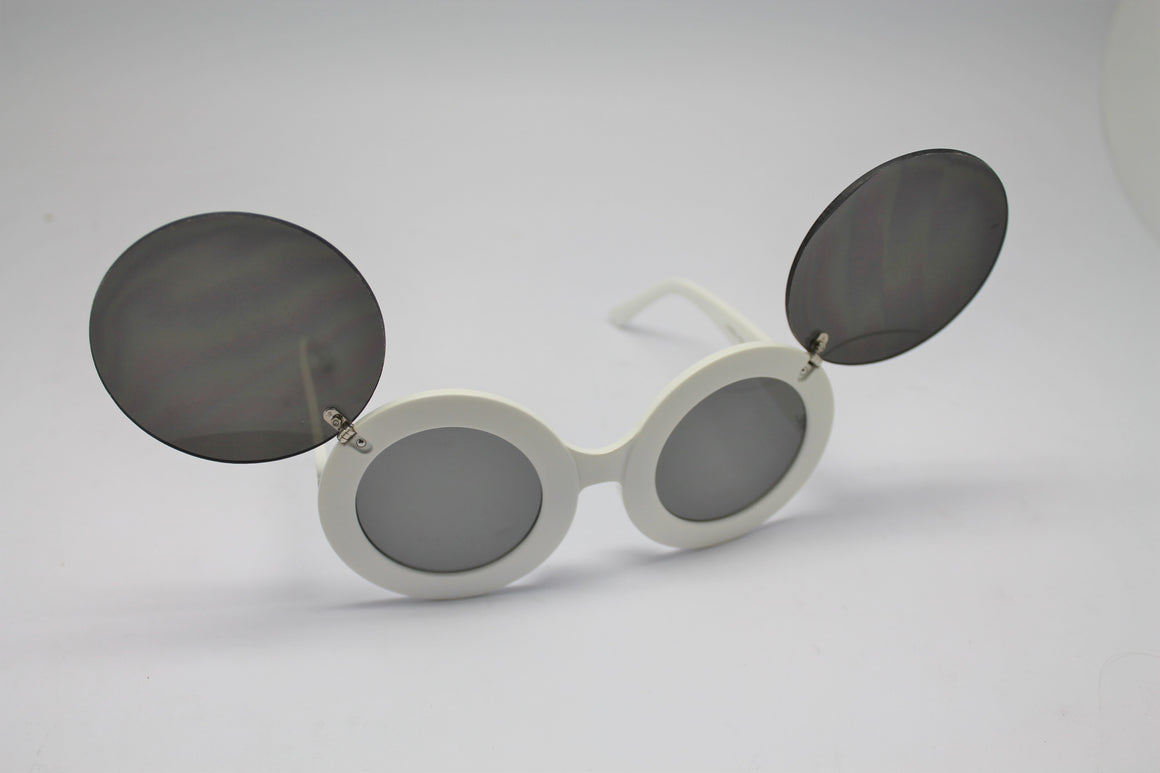 Lady gaga Mickey Mouse Flip Retro Paparazzi Sunglasses White Frames and Black lenses