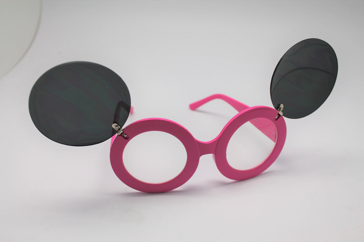 Lady gaga Mickey Mouse Flip Retro Paparazzi Sunglasses Pink Frames and Clear lenses