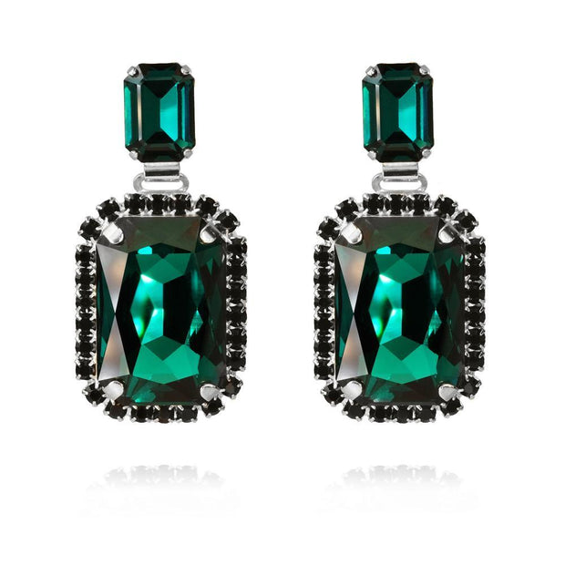 Caroline Svedbom - Alexa Earrings Emerald + Jet Rhodium