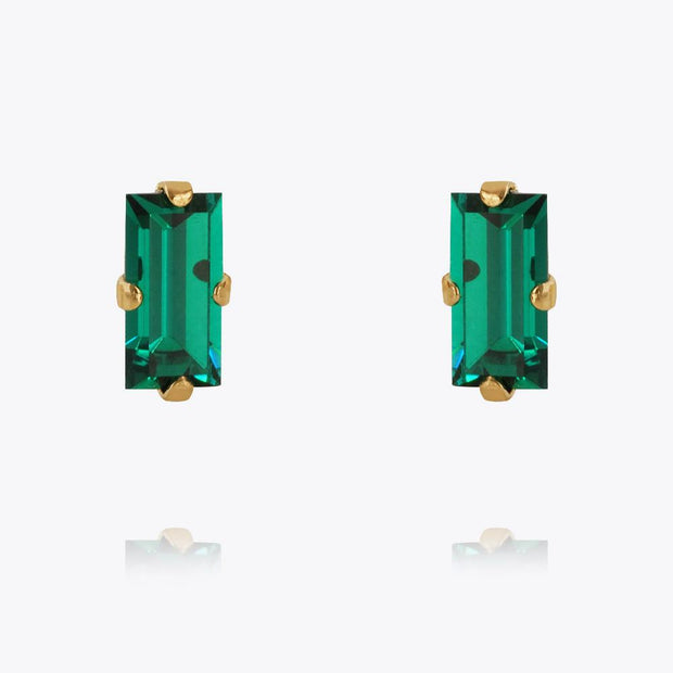 Caroline Svedbom - Baguette Earrings Emerald Gold