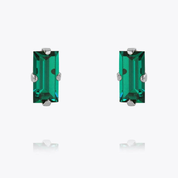 Caroline Svedbom - Baguette Earrings Emerald Rhodium