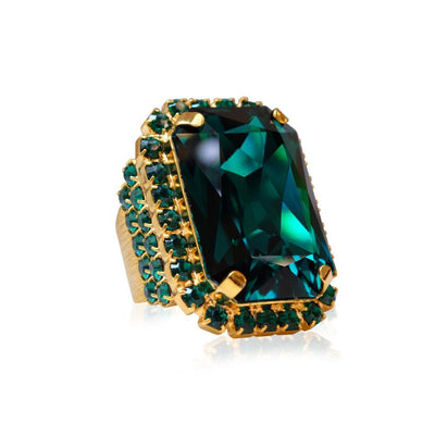 Caroline Svedbom - Alexa Cocktail Ring Emerald + Jet Gold
