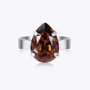 Caroline Svedbom - Mini Drop Ring Smoked Topaz Rhodium