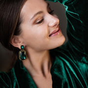 Alexa Earrings / Emerald + Jet
