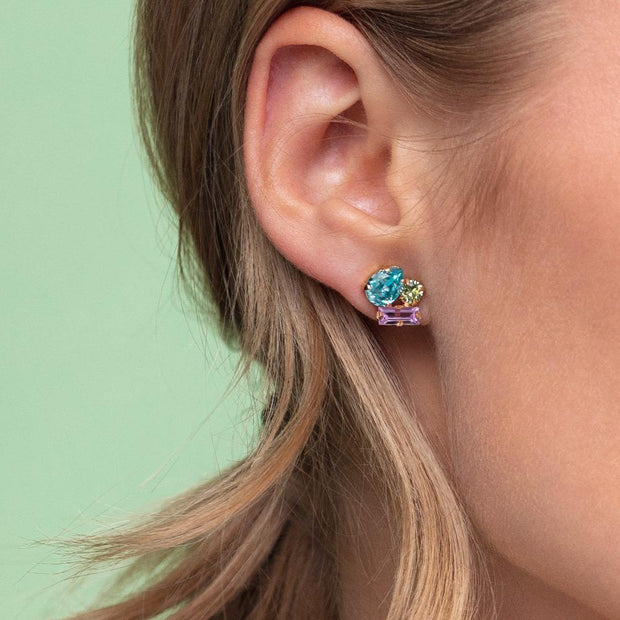Isa Earrings / Light Turquoise + Chrysolite + Violet