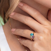 Isa Ring / Light Turquoise + Chrysolite + Violet