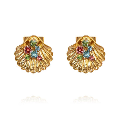 18k gold plated Shell Bohemian Earrings with swarovski crystals
