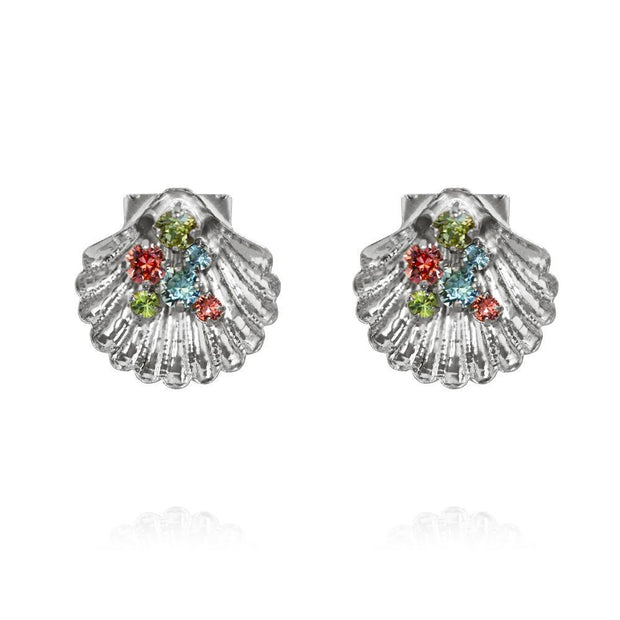 Rhodium plated shell Bohemian Earrings with swarovski crystals