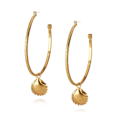 18k gold plated Shell Loop Earrings with swarovski crystals