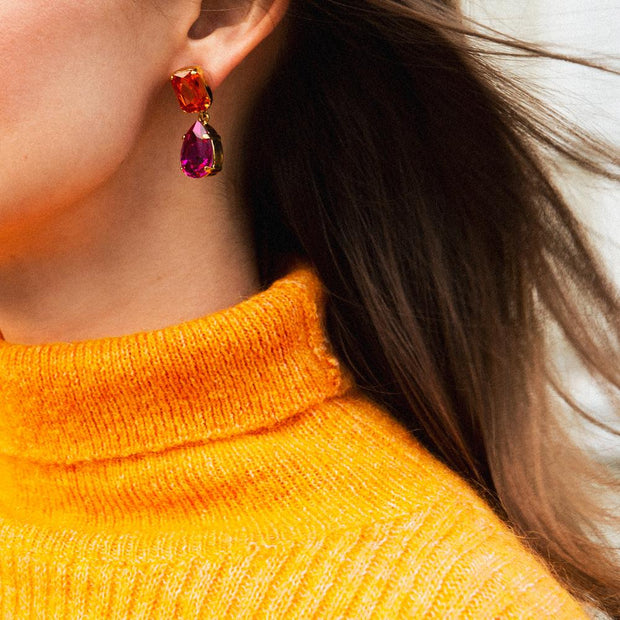 Lydia Earrings / Tangerine + Fuchsia