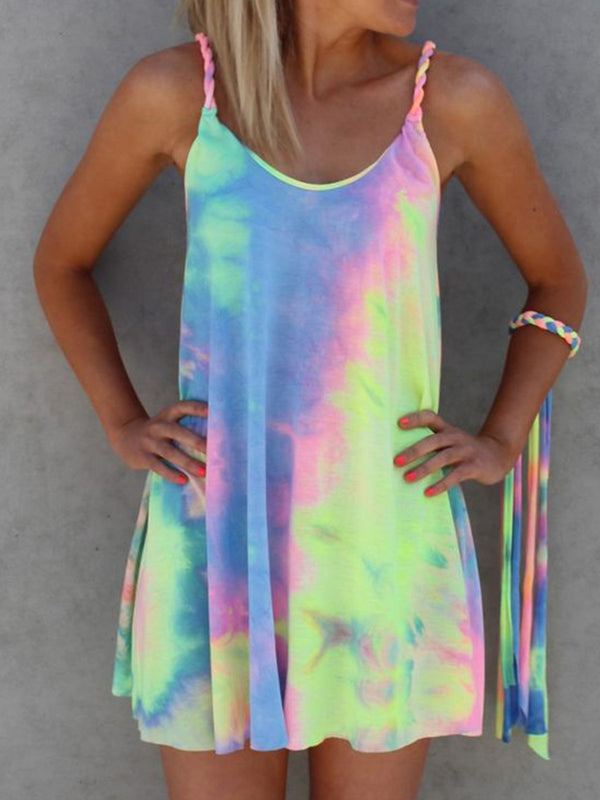 Women Casual Colorful Tie Dye Mini Dresses