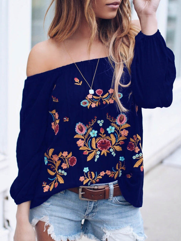 Sheath Casual Floral Long Sleeve Plus Size T-Shirts